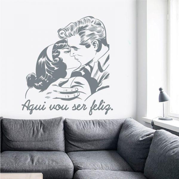 Aqui vou ser feliz em vinil autocolante decorativo de parede.