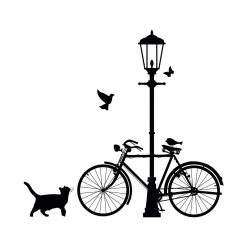 Bicicleta e Candeeiro em vinil autocolante decorativo de parede.