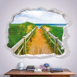 Buraco caminho para a praia, vinil autocolante decorativo de parede