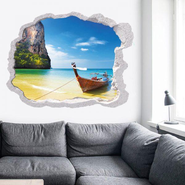 Buraco praia Tailândia, vinil autocolante de parede decorativo
