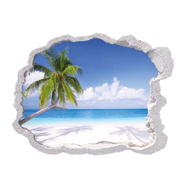 Buraco tropical paradise palmeira,vinil autocolante decorativo.
