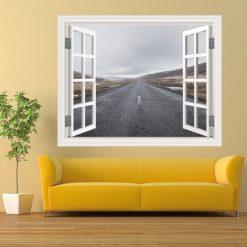 Janela estrada infinito,vinil autocolante decorativo.