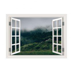 Janela floresta neblina,vinil autocolante decorativo.
