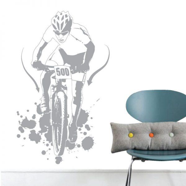 Ciclista de BTT. Autocolante decorativo de parede.