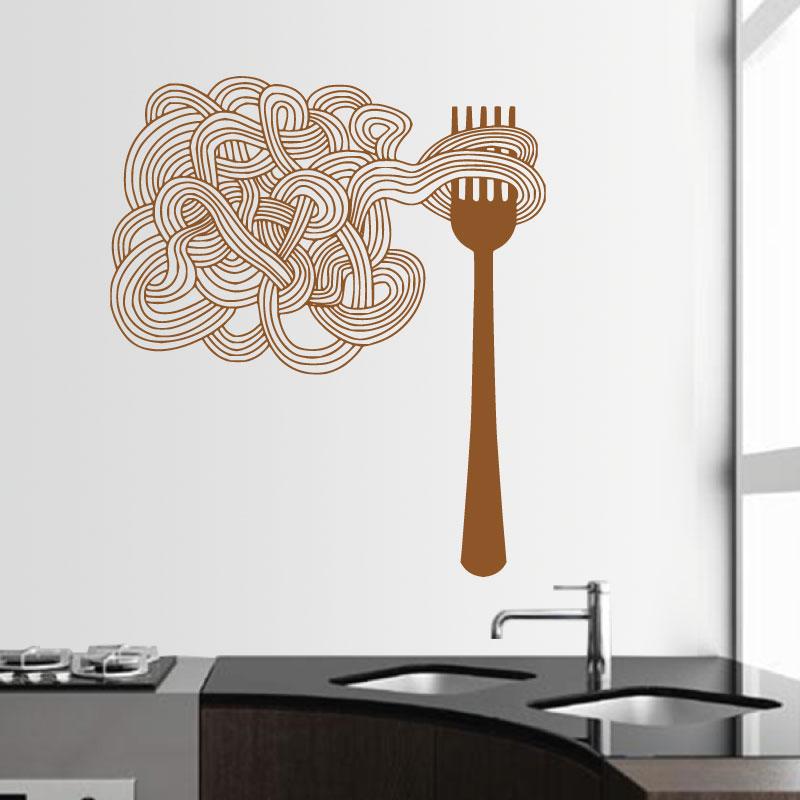 Garfo e esparguete em vinil autocolante decorativo de parede.