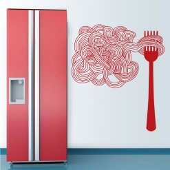 Garfo e espaguete,autocolante de cozinha decorativo.