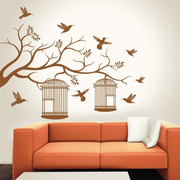 Pássaros em Liberdade em vinil autocolante decorativo de parede.