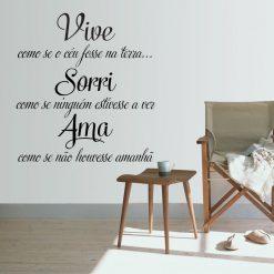 Vive Sorri Ama, autocolante decorativo de parede.