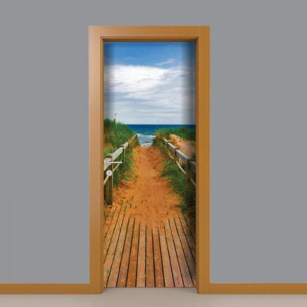 Caminho para a praia em vinil autocolante decorativo para portas e paredes.