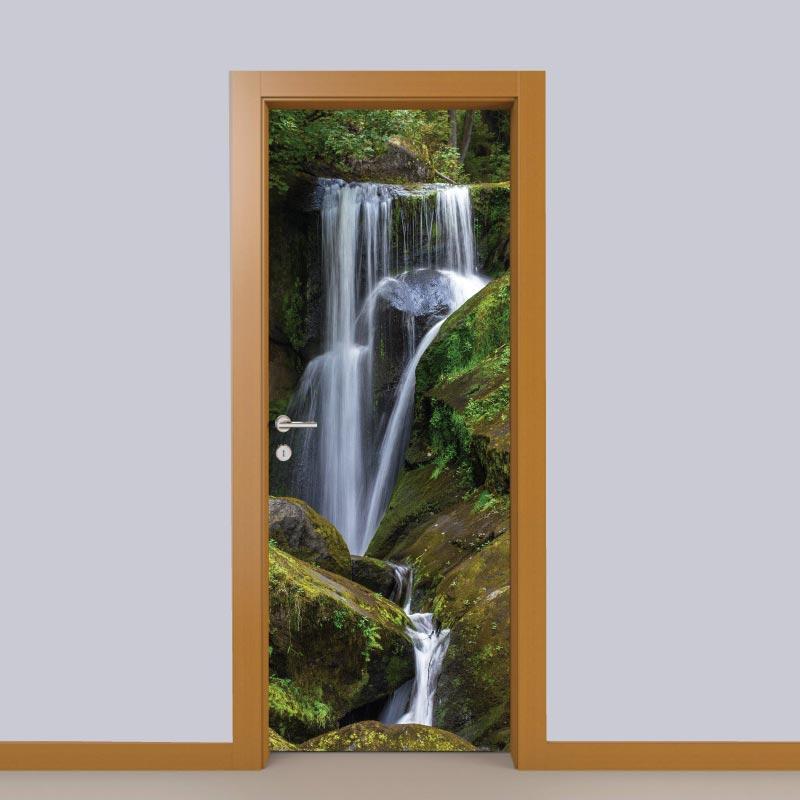 Cascata porta em vinil autocolante decorativo para portas e paredes