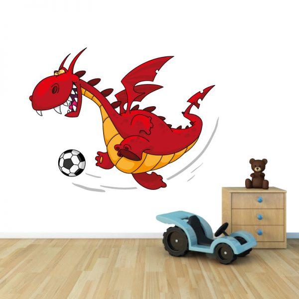 Dragão Futebolista em vinil autocolante decorativo para decoração Infantil. Impresso e recortado a volta.