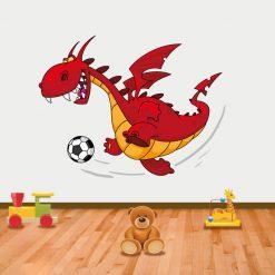 Dragão Futebolista em vinil autocolante decorativo para decoração Infantil