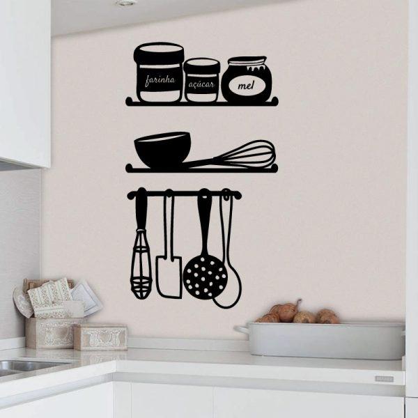 Farinha açúcar e mel em vinil autocolante decorativo para paredes de cozinhas.