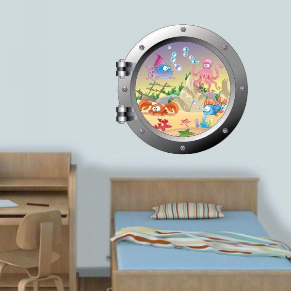 Janela de Navio com fundo do mar em vinil autocolante de parede para decoração Infantil