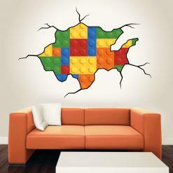 Buraco Lego, vinil autocolante de parede decorativo