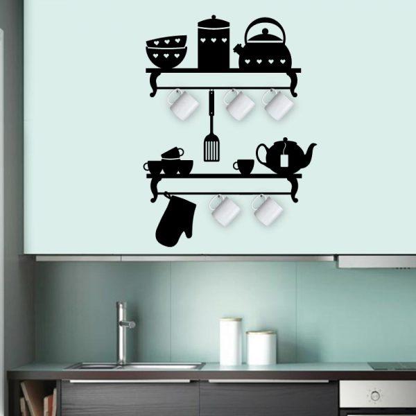 Porta canecas em vinil autocolante decorativo de parede.