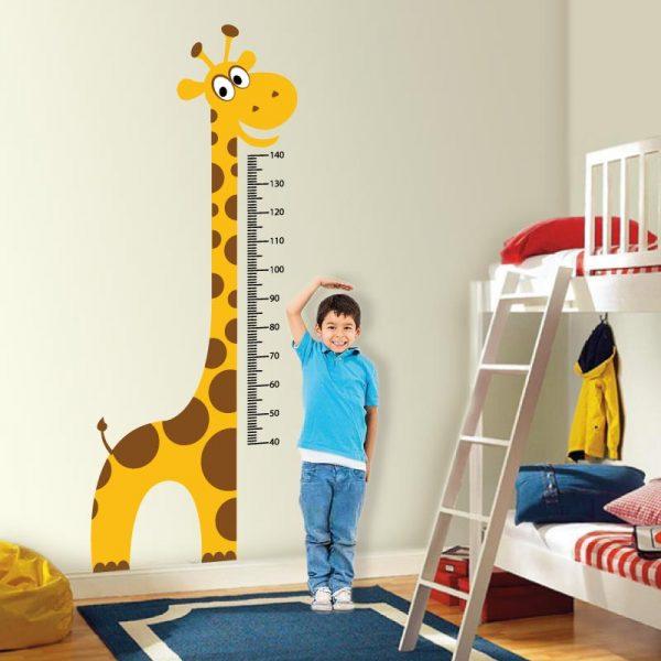 Régua de crescimento Girafa vinil autocolante decorativo