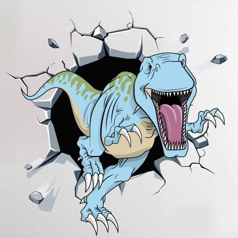 T- Rex a sair da parede,vinil autocolante decorativo.