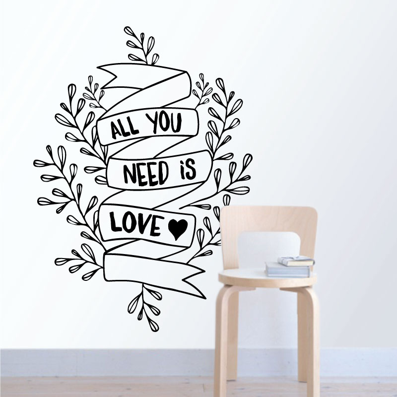 All you need is love. autocolante decorativo de parede.