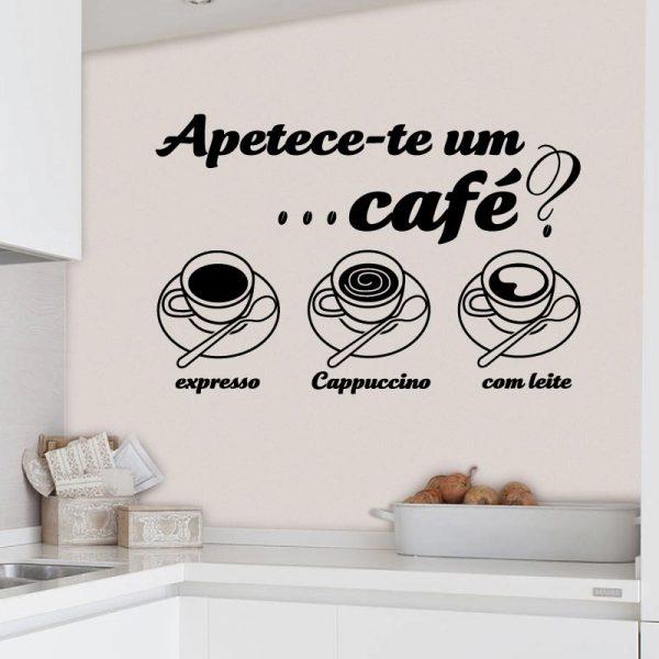 Apetece-te um café em vinil autocolante decorativo de parede.