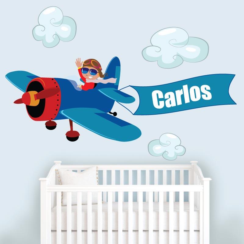 Avião nome personalizado em vinil autocolante decorativo para decoração Infantil