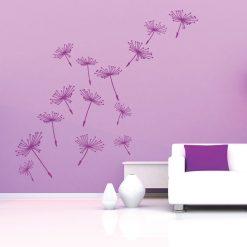 Dente de leão floral em vinil autocolante decorativo de parede