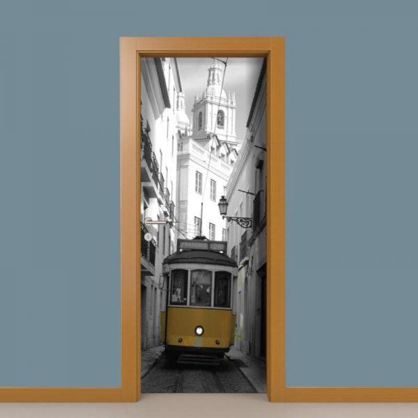 Eléctrico Lisboa Porta em vinil autocolante decorativo para portas e paredes