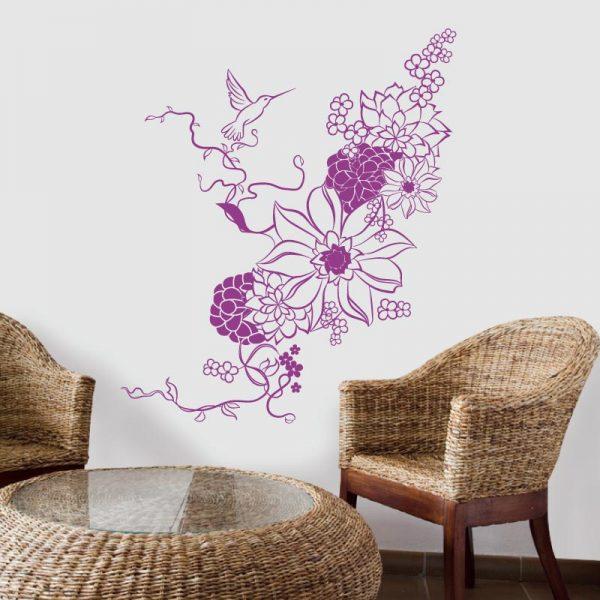Floral Colibri em vinil autocolante decorativo de parede
