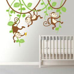 Macacos nas Lianas em vinil autocolante decorativo para decoração Infantil