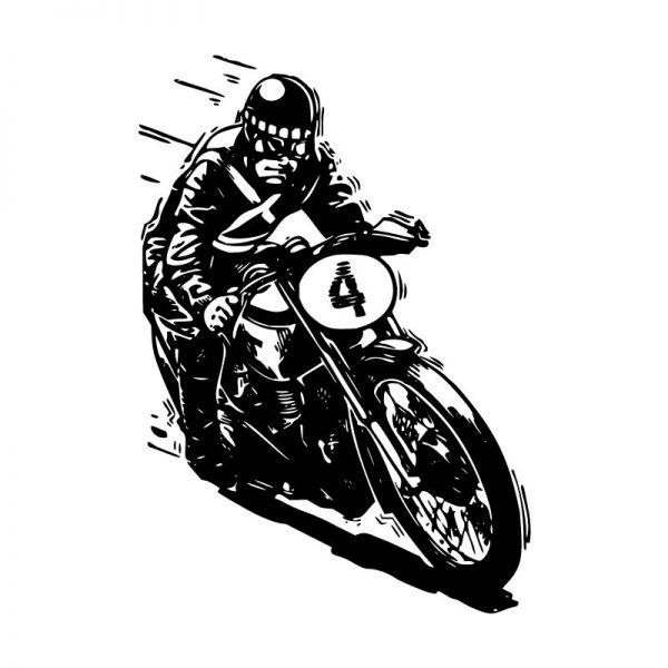 Motociclista vintage. Autocolante decorativo de parede.