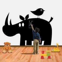 Rinoceronte autocolante decorativo em vinil de ardósia