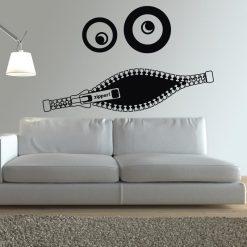 Sorriso Zipper em vinil autocolante decorativo de parede.