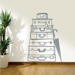 Malas de viagem em vinil autocolante decorativo de parede