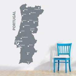 Mapa de Portugal em vinil autocolante decorativo de parede.