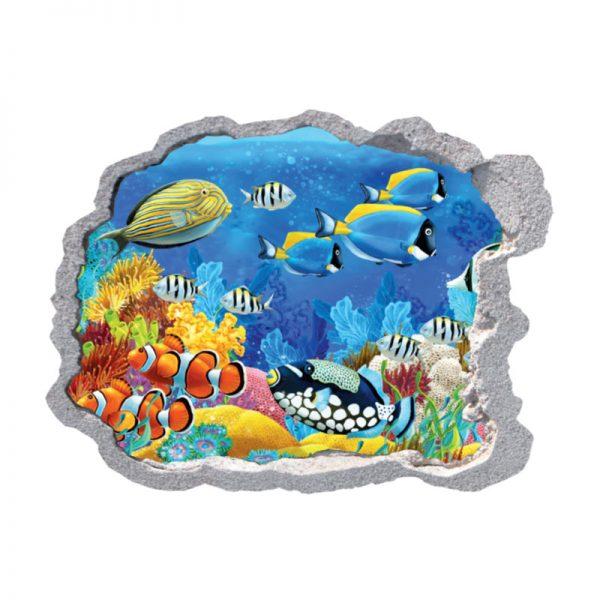 Buraco na parede fundo do mar coral,vinil autocolante decorativo que simulam o efeito de um buraco na parede.