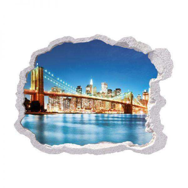 Buraco na parede New York City Ponte, vinil autocolante de parede que simulam o efeito de um buraco na parede
