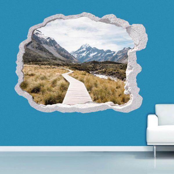 Buraco na parede caminho para a montanha, vinil autocolante de parede que simulam o efeito de um buraco na parede.