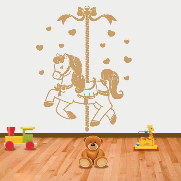 Cavalinho de carrossel autocolante infantil de parede