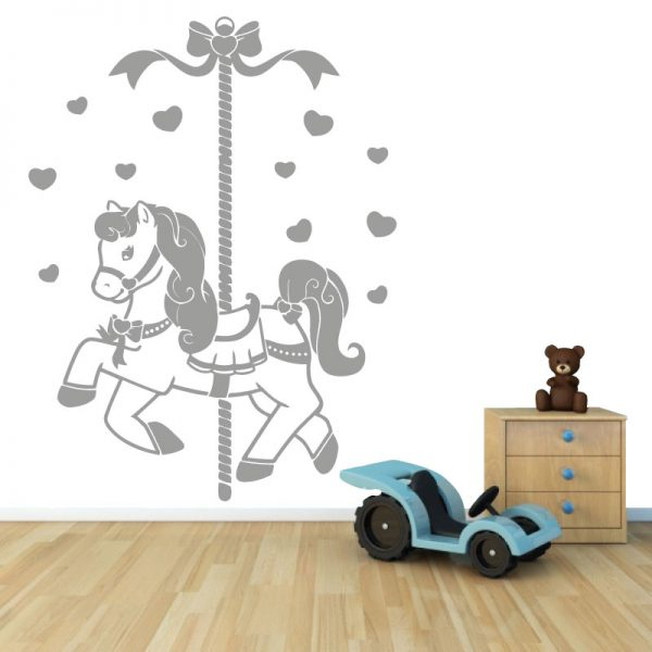 Cavalinho de carrossel autocolante infantil de parede.