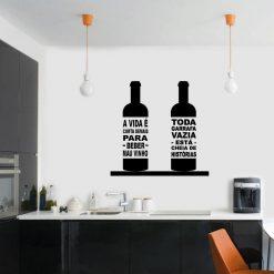 Garrafas de vinho autocolante decorativo para paredes de cozinhas