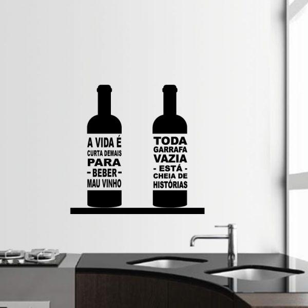 Garrafas de vinho autocolante decorativo para paredes de cozinhas.