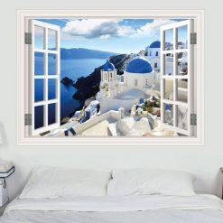 Janela Santorini Grécia, autocolante de parede decorativo. Autocolante que simula o efeito de uma janela.
