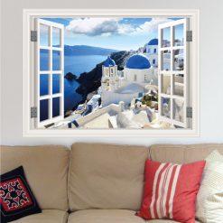 Janela Santorini Grécia, autocolante de parede decorativo. Autocolante que simula o efeito de uma janela