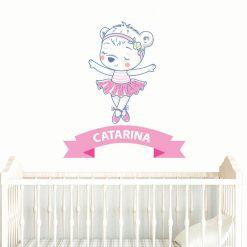 Ursinha bailarina autocolante infantil personalizado com nome, autocolante para decoração de quartos de criança. Impresso e recortado a volta.