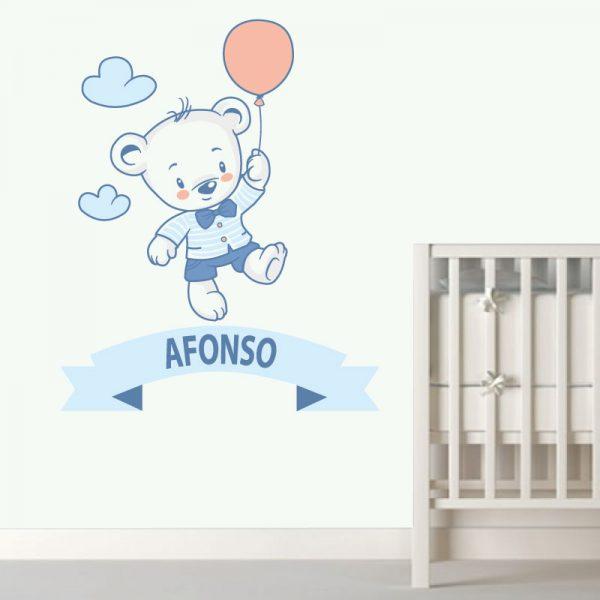 Ursinho autocolante infantil personalizado com nome, autocolante para decoração de quartos de criança. Impresso e recortado a volta