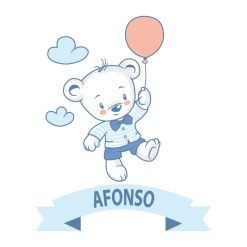 Ursinho autocolante infantil personalizado com nome, autocolante para decoração de quartos de criança. Impresso e recortado a volta.