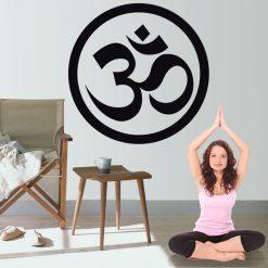 Yoga OM símbolo, autocolante de parede decorativo.
