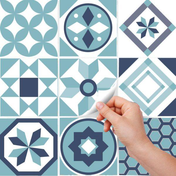 Azulejos autocolantes geométricos turquesa (Pack de 30 unidades) em vinil autocolante decorativo.