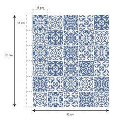 Azulejos Portugueses monocromáticos (Pack de 30 unidades) em vinil autocolante decorativo de parede.