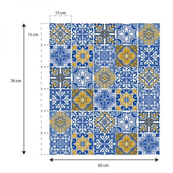 azulejos autocolantes em tons de azul e amarelo